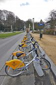Brussels, Belgium - February 16: Row Of Bicycles For Rent On February 16, 2014 In Brussels.