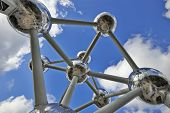 Brussels, Belgium - February 16: Atomium Facade On February 16, 2014 In Brussels. Atomium Is A 102M