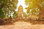 Ruins Of Old Buddhist Temple With Stupa And Buddha Statues