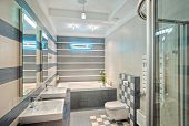 picture of shower-cubicle  - Modern bathroom in blue and gray tones with mosaic on wide angle view - JPG