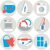 House work icons. Vector illustration.  Flat design.