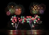 picture of firework display  - beautiful colorful fireworks display for celebration festival - JPG