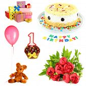 Birthday collage isolated on white