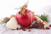 red apple, biscuit and spices