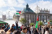 Demonstration Supporting Of Palestine In The Center Of Europe