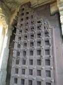 stock photo of ankh  - Ankh spiked gate for defense against war elephants at Kumbhalgarh Fort in Rajasthan India Asia - JPG