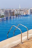 DUBAI, UAE - 2 APRIL 2014: Pool area of The Grand Midwest Tower Hotel in Dubai, UAE. The Grand Midwe