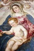 ZAGREB, CROATIA - DECEMBER 12: Jacopo Tintoretto: Madonna and Child exhibited at the Great Masters r