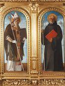ZAGREB, CROATIA - DECEMBER 12: Giovanni Bellini: Saint Benedict and Saint Augustine, exhibited at th