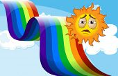 Illustration of a sun near the rainbow