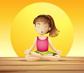 Illustration of a young lady doing yoga