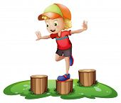 Illustration of a young boy playing with the stump on a white background