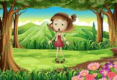 Illustration of a shocked young girl in the middle of the forest