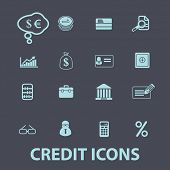 credit, bank, money black icons, signs, silhouettes, illustrations set. vector