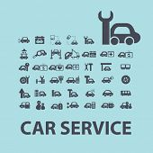 car service, repair black icons, signs, silhouettes, illustrations set. vector