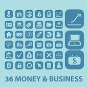money, business, presentation icons, signs, silhouettes, illustrations set. vector