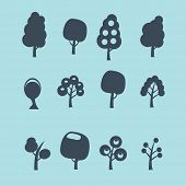 trees black isolated icons, signs, silhouettes, illustrations set, vector