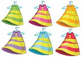 Illustration of the six colourful dresses on a white background
