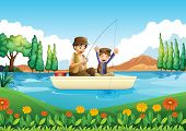 Illustration of a father and son fishing