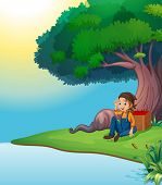 Illustration of a young boy relaxing under the tree