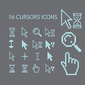 cursors, select, modify, click, search black icons, signs, silhouettes, illustrations set. vector