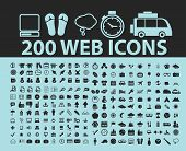 200 website, internet, business, computer, travel black icons, signs, silhouettes, illustrations set