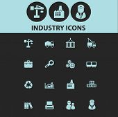 industry, factory, business black icons, signs, silhouettes, illustrations set. vector