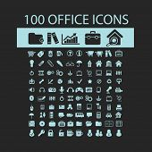 100 office, documents black isolated icons, signs, silhouettes, illustrations set, vector