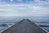Wooden pier at dusk
