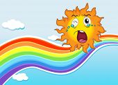 Illustration of a rainbow and a crying sun