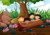 Illustration of the kids playing at the woods