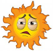 Illustration of a sun with a face on a white background