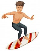 Illustration of a man surfing on a white background