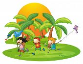Illustration of the kids playing in the island near the palm trees on a white background