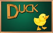 Illustration of a blackboard with a duck