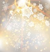 Festive Christmas background with beautiful golden light. Abstract illustration with snowflakes. Ras