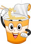 Mascot Illustration Featuring a Cup Scooping Noodles Out of His Head