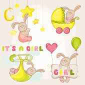 Baby Bunny Set - for Baby Shower or Arrival Card - in vector