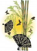 illustration with green bamboo and dark fans