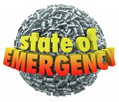 State of Emergency words in 3d letters on a ball or sphere of exclamation points or marks to illustr