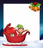 Illustration of a banner with elf and christmas background