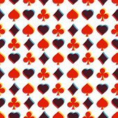 Seamless pattern with card suits. Endless background of hearts, diamonds, clubs, spades for design.