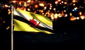 Brunei National Flag City Light Night Bokeh Background 3D