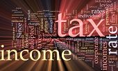 Income Tax Word Cloud Glowing