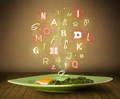 Fresh cook food with colorful letters on wood deck