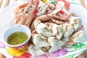 Steam Crab Leg With Green Chili Sauce.