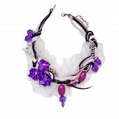 Vintage Necklace Decorated With Beads, Braid, Laces And Purple Satin Flowers