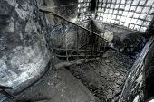 High Dynamic Range Image of a Burned Out building stair