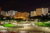 Park in the New Territories of Hong Kong in the nighttime