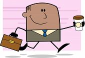 Lucky African American Businessman Running To Work With Briefcase And Coffee Character On Ba